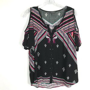 The Limited Boho Cold Shoulder Top Size L